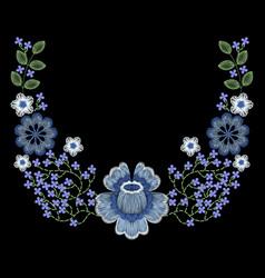Fashion embroidered floral neckline vector