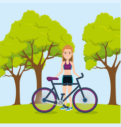 Female athlete with bicycle vector