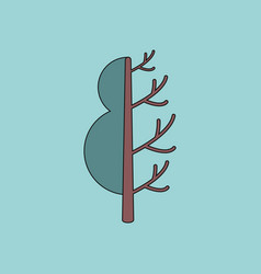 Flat icon design collection tree in winter and vector