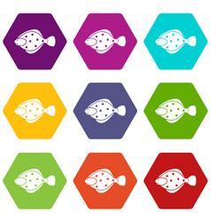 Flounder fish icon set color hexahedron vector