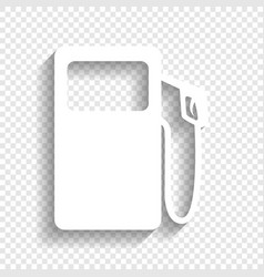 Gas pump sign white icon with soft shadow vector