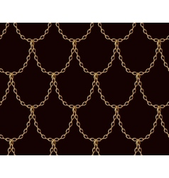 Golden chain seamless pattern on chocolate brown vector