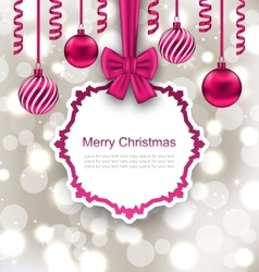Greeting Paper Card with Bow Ribbon and Christmas vector image vector image