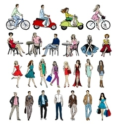 hand-drawn different people vector image vector image