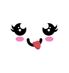 kawaii cartoon face vector image vector image