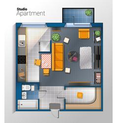 modern studio apartment top view vector image