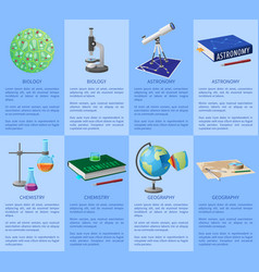 School subjects poster with detailed information vector