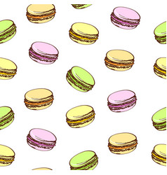 seamless background with colored macaroons vector image vector image