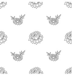 seamless pattern with black flowers vector image