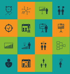 set of 16 administration icons includes company vector image vector image