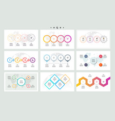 Set of infographic elements presentations graphs vector