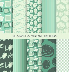 Set of seamless patterns in retro style vector image vector image