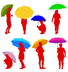 Silhouettes man and woman under umbrella vector image