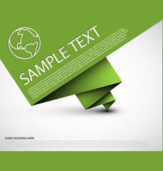 Simple background with folded green paper vector