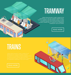 tramway waiting station isometric 3d posters vector image