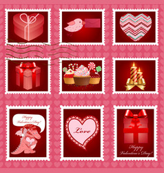 Valentine day postage set vector