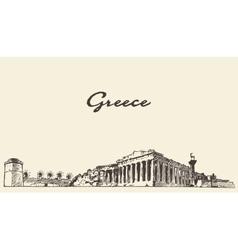Greece skyline vintage drawn sketch vector