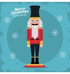 Merry christmas nutcracker design vector