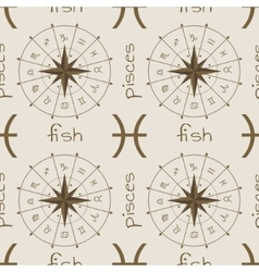 Astrology sign fish seamless pattern vector