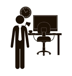 Black silhouette man administrator in office vector