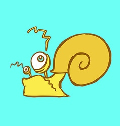 Funny cartoon flat yellow snail crawling somewhere vector