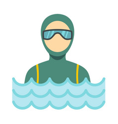 scuba diver man in diving suit icon flat style vector image