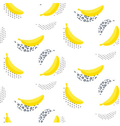 Banana pop art seamless pattern on white vector