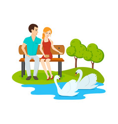 couple relax on bench park near lake with swans vector image