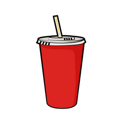 isolated of disposable red soda cup vector image