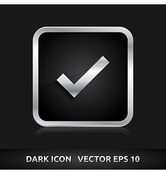 Check submit icon silver metal vector