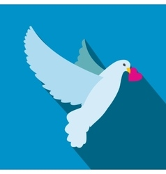 Dove with heart flat icon vector
