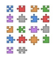 Color jigsaw puzzle blank constructor total parts vector