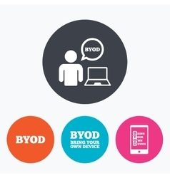 Byod signs human with notebook and smartphone vector