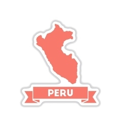 Paper sticker on white background peru map vector