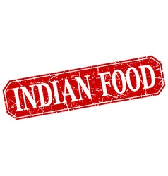 Indian food red square vintage grunge isolated vector