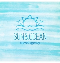Logo with sun and waves vector