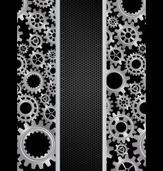 abstract gears banner on black background vector image vector image