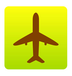 Airplane sign brown icon at vector