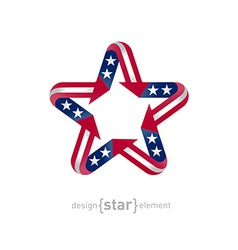 american star with flag color and symbol design vector image vector image