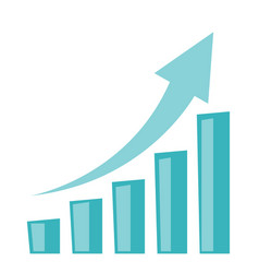 Business growth bar chart with arrow going up vector