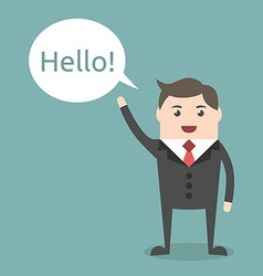 Businessman character saying hello vector image vector image
