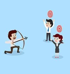 businessman shooting arrow to aim vector image vector image
