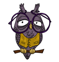 Cartoon image of clever owl vector