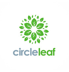 circle leaf flower logo vector image