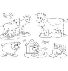 Coloring farm animals 2 vector image