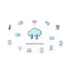 concept internet of things icon thin line flat vector image vector image