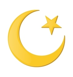 Crescent and star cartoon icon vector