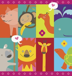 Cute design with cartoon animals characters vector image