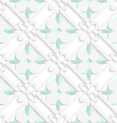 Diagonal clove leaves and flowers on green pattern vector