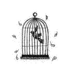 Dotwork bird in a cage vector